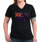 New Zealand Flag Women's V-Neck Dark T-Shirt