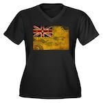Niue Flag Women's Plus Size V-Neck Dark T-Shirt