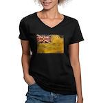 Niue Flag Women's V-Neck Dark T-Shirt