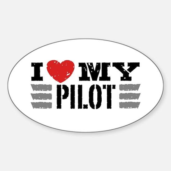 I Love My Pilot Sticker (Oval)
