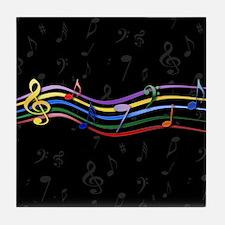 Mixed Rainbow Musical Notes Tile Coaster