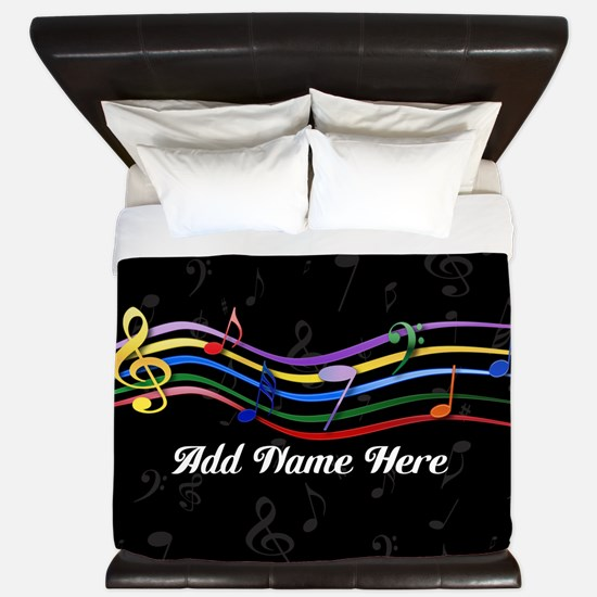 personalized Rainbow Musical Notes King Duvet