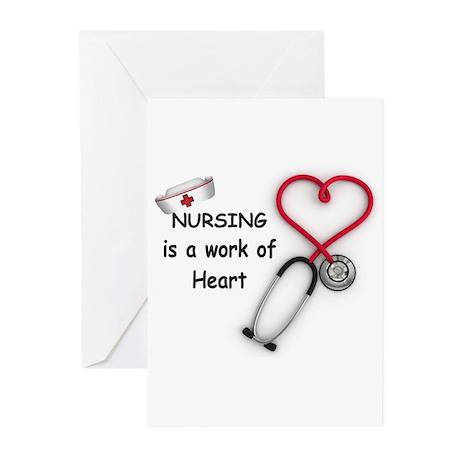 Nurses Work of Heart Greeting Cards (Pk of 10)