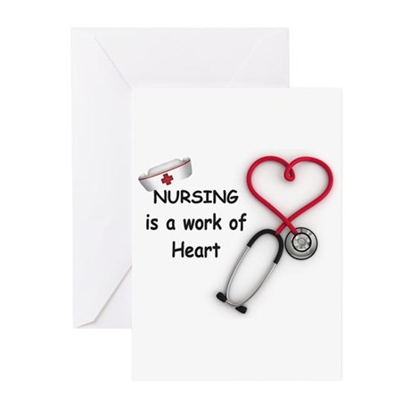 Nurses Work of Heart Greeting Cards (Pk of 20)