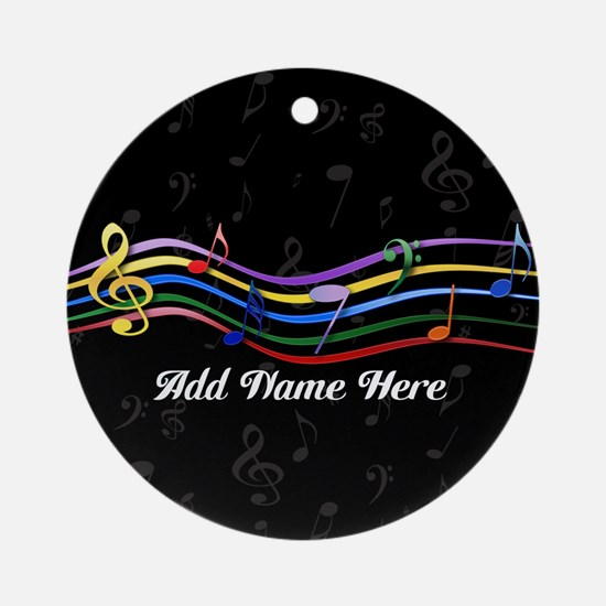 Personalized Rainbow Musical Ornament (Round)
