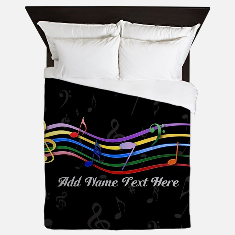Personalized Rainbow Musical Queen Duvet
