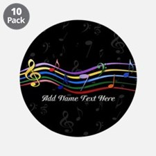 """Personalized Rainbow Musical 3.5"""" Button (10 pack)"""