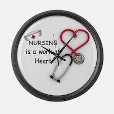 Nurses Work of Heart Large Wall Clock