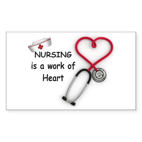 Nurses Work of Heart Sticker (Rectangle)