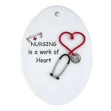Nurses Work of Heart Ornament (Oval)