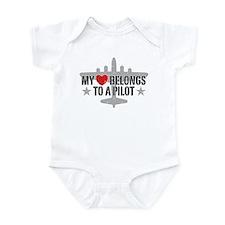 My Heart Belongs To A Pilot Infant Bodysuit
