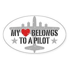My Heart Belongs To A Pilot Decal