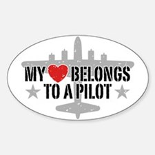 My Heart Belongs To A Pilot Decal