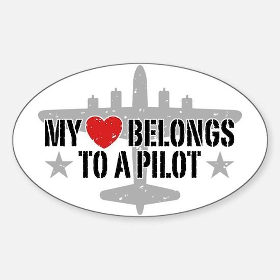 My Heart Belongs To A Pilot Sticker (Oval)