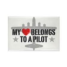My Heart Belongs To A Pilot Rectangle Magnet