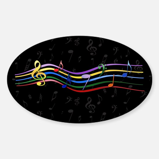 Rainbow Musical Notes Sticker (Oval)