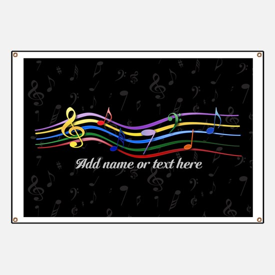 Rainbow Musical Notes Banner