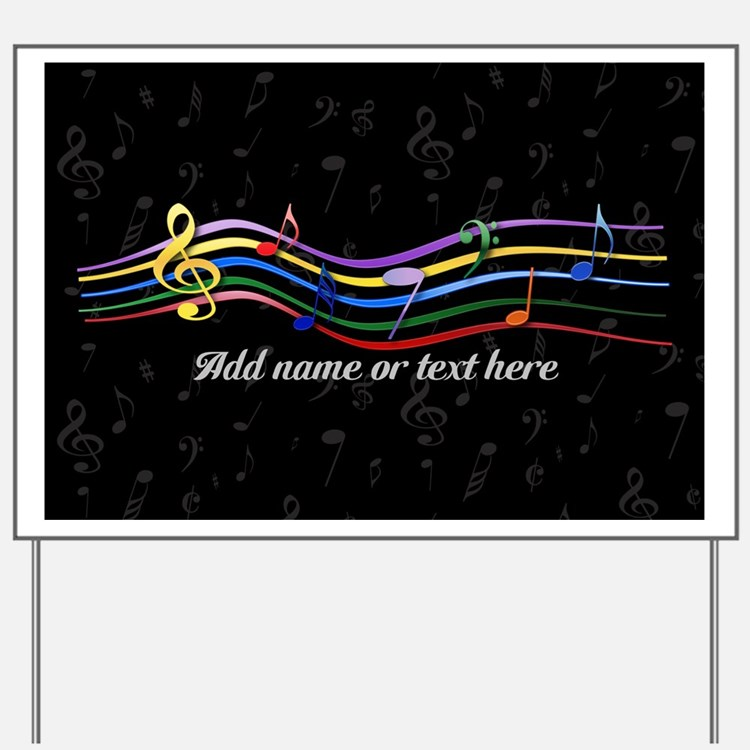 Rainbow Musical Notes Yard Sign
