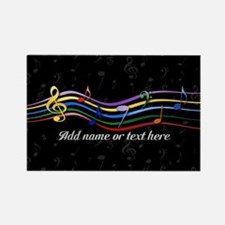Rainbow Musical Notes Rectangle Magnet