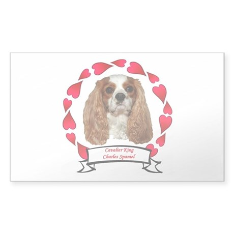 Cavalier Hearts Sticker (Rectangle)