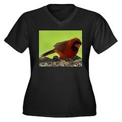 Cardinal Women's Plus Size V-Neck Dark T-Shirt