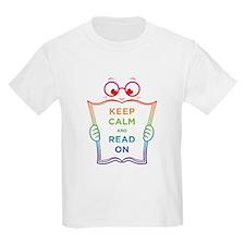 Keep Calm and Read On Kids Light Tee in Rainbow