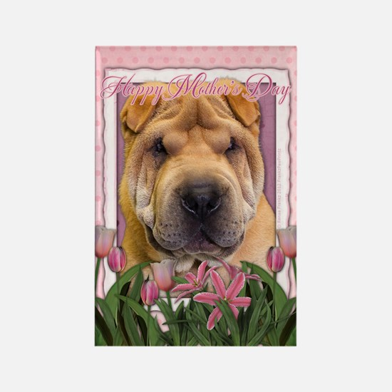 Mothers Day Pink Tulips Shar Pei Rectangle Magnet