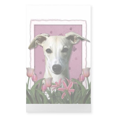 Mothers Day Pink Tulips Whippet Sticker (Rectangle