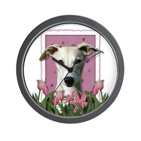 Mothers Day Pink Tulips Whippet Wall Clock