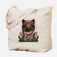 Mothers Day Pink Tulips Vallhund Tote Bag