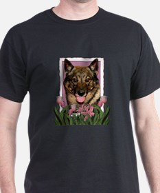 Mothers Day Pink Tulips Vallhund T-Shirt