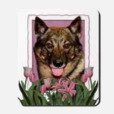 Mothers Day Pink Tulips Vallhund Mousepad