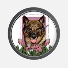 Mothers Day Pink Tulips Vallhund Wall Clock