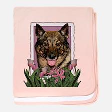 Mothers Day Pink Tulips Vallhund baby blanket