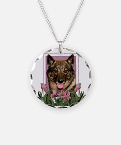 Mothers Day Pink Tulips Vallhund Necklace