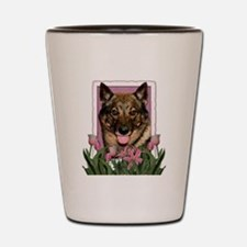 Mothers Day Pink Tulips Vallhund Shot Glass