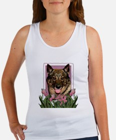 Mothers Day Pink Tulips Vallhund Women's Tank Top