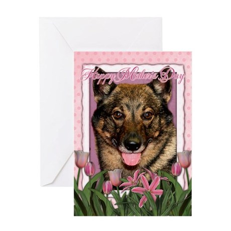 Mothers Day Pink Tulips Vallhund Greeting Card