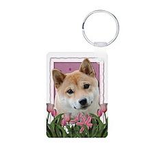 Mothers Day Pink Tulips Shiba Inu Keychains