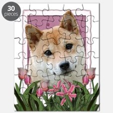 Mothers Day Pink Tulips Shiba Inu Puzzle