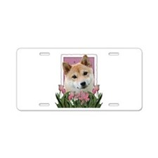 Mothers Day Pink Tulips Shiba Inu Aluminum License