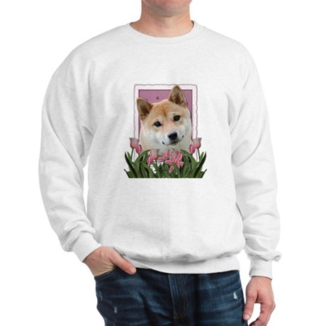 Mothers Day Pink Tulips Shiba Inu Sweatshirt