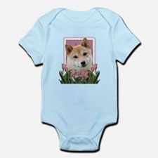 Mothers Day Pink Tulips Shiba Inu Infant Bodysuit