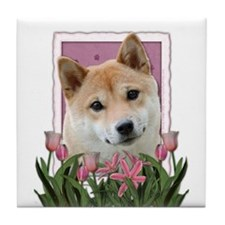 Mothers Day Pink Tulips Shiba Inu Tile Coaster