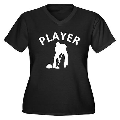 Curling Player Women's Plus Size V-Neck Dark T-Shi
