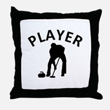 Curling Player Throw Pillow