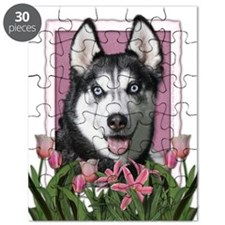 Mothers Day Pink Tulips Siberian Husky Puzzle