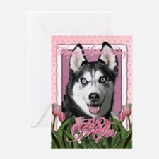 Mothers Day Pink Tulips Siberian Husky Greeting Ca