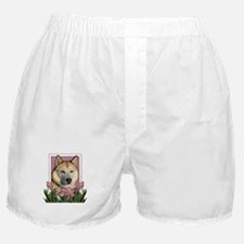 Mothers Day Pink Tulips Siberian Husky Boxer Short