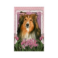 Mothers Day Pink Tulips Sheltie Rectangle Magnet